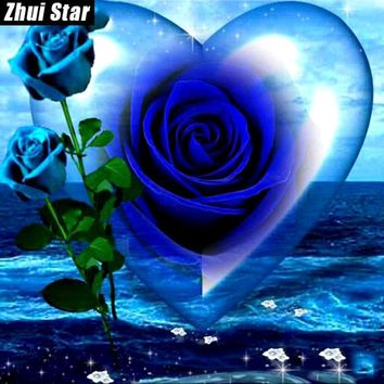 "5d Diamond Painting Mosaic diy ""blue rose flower"" hart"