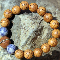 Dragon Eye Bodhi Seed and Sodalite Wrist Mala