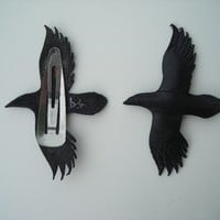leather raven hair clips by wingandtalon on Etsy