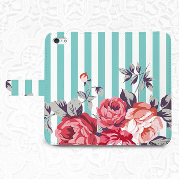 Stripe floral iPhone/smartphone flip leather Wallet case for iPhone 6, 6 plus, 5, 5s, 5c, iPhone 4, 4s- Samsung GalaxyS5 S4 S3, Note 3, 4