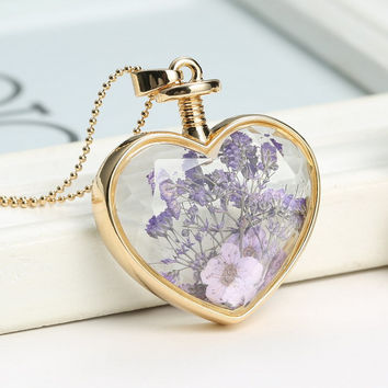 necklaces for women fashion jewelry heart glass purple real dried flower necklace Heart  bottle chains pendant locket