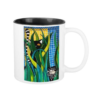 Hunter in Camouflage - Funny Cat Art Two-Tone Coffee Mug