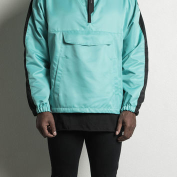 anorak track pullover / turquoise + black