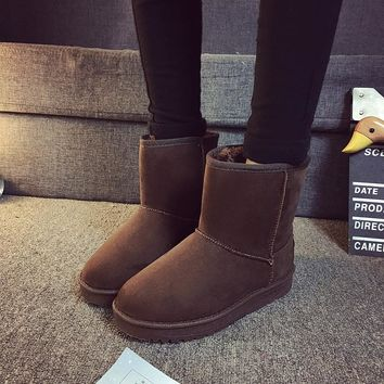 Plus Size 35-45 Ankle Boots Winter Shoes Snow Women Female Boot Tall Ug Boos Australia Leather Shoe Bootie Motorcycle Fashion