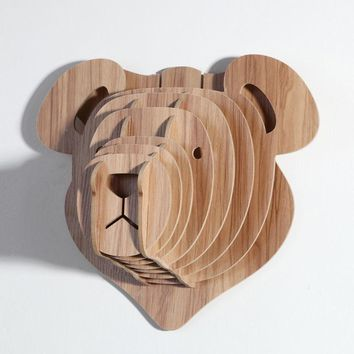 Wood Sculpture Wood Bear Head Design 5MM MDF Animal Head Wall Hanging Carving for Children/Kids Room WDM006M