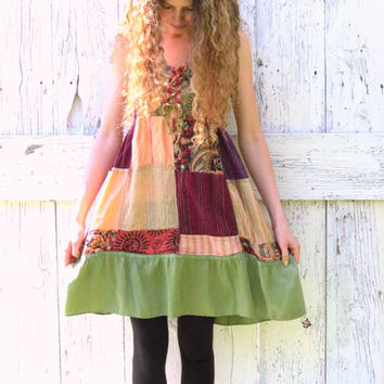 Eco Friendly Smocked Patchwork Dress , Green clothing size Medium , Bohemian brown and green hippie chic tunic boho babydoll  by wearlovenow