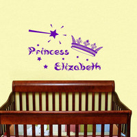 Childrens Decor Nursery Girls Wall Decals Vinyl Art Personalized Name Princess Crown Stars Custom Decal Unique Design for Any Room V471