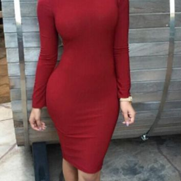 Casual Long Sleeve Grid Back Bodycon Midi Dress