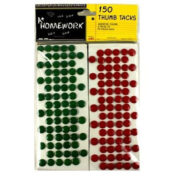 Carded Thumb Tacks - Asst Colors - 150 Count
