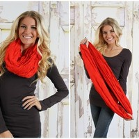 RED Solid Crinkled Infinity Scarf