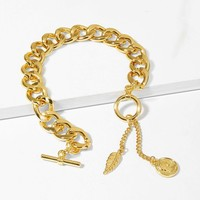 Leaf & Figure Detail Crude Chain Bracelet 1pc