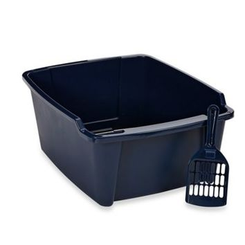 IRIS USA 8-Inch High Cat Litter Pan with Scoop in Blue