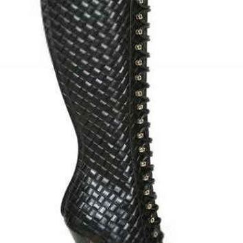 Quilted Leather Lace-Up Boots