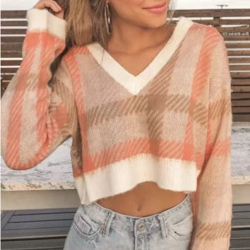 New explosion sweater women's knitted blend V-neck plaid sweater
