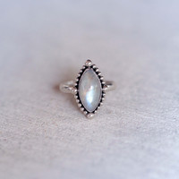 Marquis Rainbow Moonstone Ring