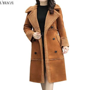 LXUNYI Womens Suede Coats Double Breasted Slim Lambswool Long Cotton-padded jacket 2017 Winter Thick Woman Wadded Coat Plus Size