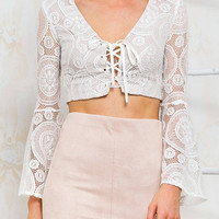 White Bell-sleeved Lace Crop Top