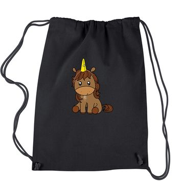 Unicorn in Cone Hat Drawstring Backpack