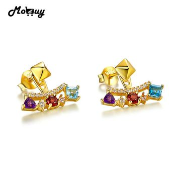 MoBuy MBEI003 Unique Gemstone Garnet Topaz Amethyst Stud Earrings 925 Sterling Silver Jewelry Light Yellow Gold Plated For Women
