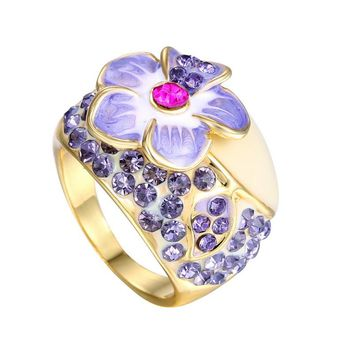 High-End Enamel Flower Austria Crystal gold color Engagement Rings Luxury Jewelry Wedding Rings for Women Ring Bijouterie