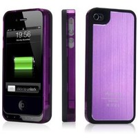 Alpatronix MFi Apple Certified BX100 1900mAh iPhone 4/4S Battery Charging Case (Ultra Slim Removable Extended Battery, Fits all models of Apple iPhone 4/4S - Retail Packaging) - Aluminum Purple/Black