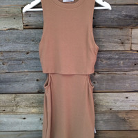 RIB CUTOUT MINI DRESS - CAMEL