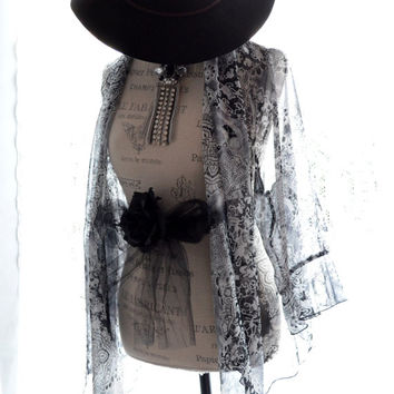 Black Friday Sale Black n white wrap, Romantic country chic ruffle top, Bohemian hippie chic shirt, boho clothes for her, True rebel clothin