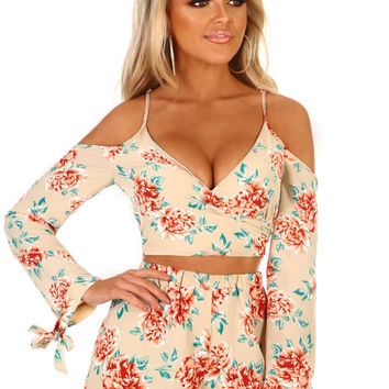 Hoola Goddess Nude Floral Cold Shoulder Crop Top