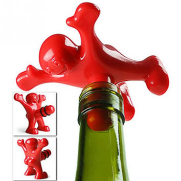 1pc Newest Novelty Bar Tools Wine Cork Bottle Plug Funny Happy Man Guy
