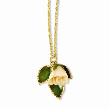 Lacquer Dipped White Rose Necklace w/ Gold-tone Chain