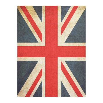 Vintage Union Jack British Flag Fleece Blanket
