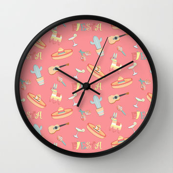 Fiesta Fun On Soft Red For Your Southwestern Decor Wall Clock by CandyBoxDigital