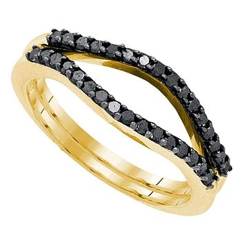 10kt Yellow Gold Women's Round Black Color Enhanced Diamond Ring Guard Wrap Solitaire Enhancer 1/3 Cttw - FREE Shipping (US/CAN)