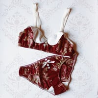 Peter Pan Collar 'Cranberry' Floral Cotton Lingerie Set Handmade to Order
