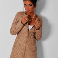 Bronzed Beige Quilted Collarless Jacket | Pink Boutique