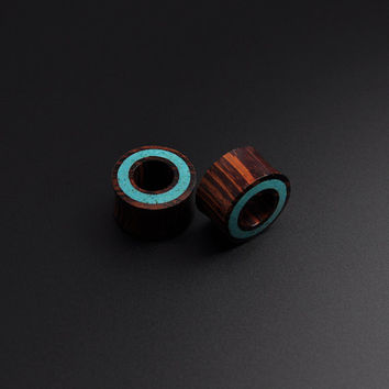 Turquoise Ear Tunnel | Stunning Hand Carved Rengas Wood with Crushed Turquoise Halo Inlay
