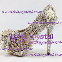 Peacock Crazy Celebrity Hand made crystal swarovski diamond shoes pumps wedding shoes