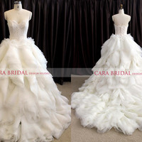 Lace and Organza Wedding Dresses Sweetheart A-line Bridal Gowns