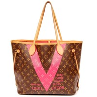 Louis Vuitton Limited Edition Neverfull V Pink/Grenade w/pouch 5558 (Authentic Pre-owned)