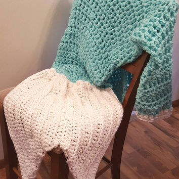 Mint Mermaid Blanket. Made by Bead Gs on ETSY. Adult size. mermaid tail