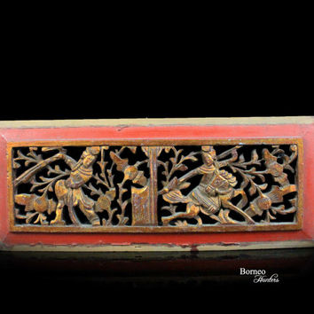 Vintage Chinese Wood Panel. Figure And Flower Relief Perforated Carving. Bed/Cabinet Panel. Handcarved Oriental Art, Chinese Wall Decor#4