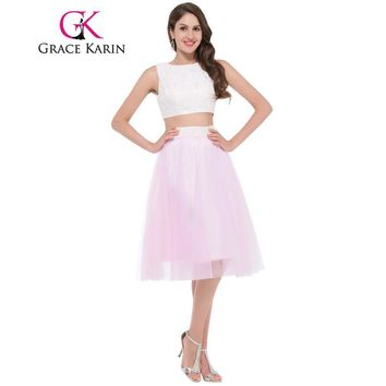 Grace Karin 2 two piece Short Prom Dresses Sexy Pink Lace Satin Ceremony Christmas Party Gowns Evening Dress Gift Clearance