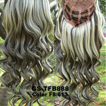 "HOT 3/4 Half Long Curly Wavy Wig Heat Resistant Synthetic Wig Hair 200g 24"" Highlighted Curly Wig Hairpieces with Comb Wig Hair GS-TFB888 F8/613"