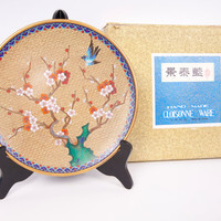 Vintage Cloisonne Plate Chinese Ware Jingfa With Stand Original Box Brass Blue Enamel Hand Made