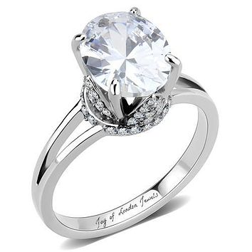 The Crown, A Flawless 3.3CT Oval Cut Russian Lab Diamond Split Shank Engagement Ring