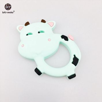 Let's Make Silicone Teether Dairy Cow 2pc BPA Free Teething Accessories Milk Cow DIY Nursing Necklace Pendants Baby Teether