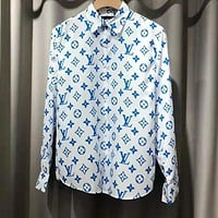 LV Louis Vuitton Newest Fashion Women Men Comfortable Print Lapel Shirt Top White(Blue Letter)