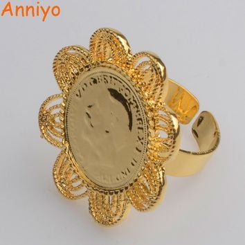 Anniyo Free Size Coin Ring For Women,Gold Color Ethiopian Jewelry Africa/Arab Ring Gifts #065106