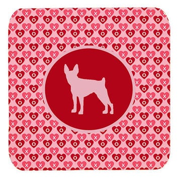 Set of 4 Fox Terrier Toy Valentine Hearts Foam Coasters