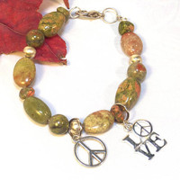 Peace Sign Beaded Bracelet for Women - Unakite Bracelet - Gifts for Her - Gifts Under 25